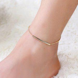"Gold Tone Bar Chain Anklet Ankle Bracelet 11"""